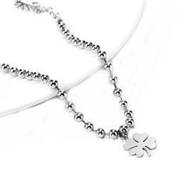 Wholesale Stainless Steel Bracelet Four clover Plant natural style jewelry Charms Chain Beads Pendant Gold Bracelet Charm Girl Jewelry