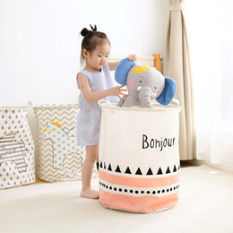 toy baskets Canada - 2018 Waterproof Dirty Barrel Folding Toy Creative Clothes Basket Bra Necktie Socks Storage Box Bag Bins Organizer Laundry Basket SH190923