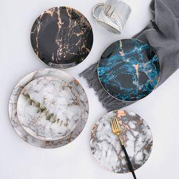 Piatti in marmo Piatti in ceramica Intarsi in oro Piattini in porcellana Bistecche Insalata Snack Piatti da tavola Stoviglie Stoviglie RRA2007 in Offerta