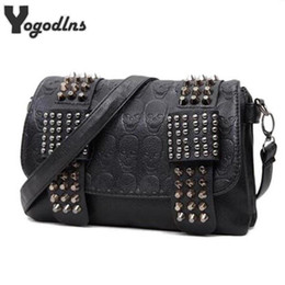 $enCountryForm.capitalKeyWord Australia - Nice Pop Fashion Women Black Leather Messenger Bags Fashion Vintage Messenger Cool Skull Rivets Shoulder Bags Sac A Main Bolsa