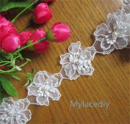 $enCountryForm.capitalKeyWord NZ - 1 Yard Sakura Flower Pearl Net Lace Edge Trim Ribbon 6.5cm Width Vintage White Edging Trimmings Embroidered Fabric Applique Sewing Craft DIY
