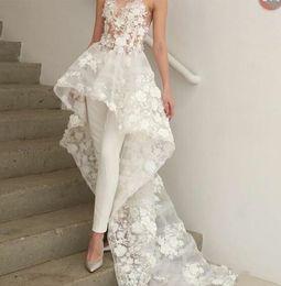 Zuhair Murad Lace Dress White Australia - Bohemian White Jumpsuits Prom Dresses Long Train 2019 Zuhair Murad Sweetheart Lace Evening Gowns 3D Floral Appliques Cocktail Party Dress