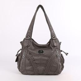 Ladies Sling Handbags Australia - Fashion High Quality Casual Designer Hobos Tote Handbag Women Bags Washed Pu Leather Shoulder Sling Bags For Ladies