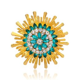 sun brooch Australia - New fashion European and American wind sapphire diamond sun flower brooch accessories
