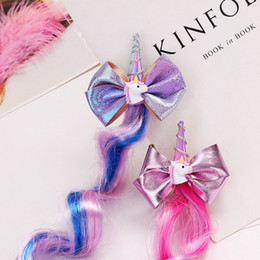 Hair wig crocHet online shopping - Cute Unicorn Gilded Bow Barrettes Gradual Color Wig Baby Hair Clip Rainbow Horse Cloud cm Firber Horsehair Girl Hairdress