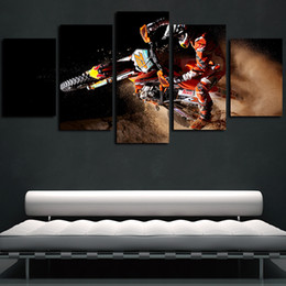 Discount motorcycle painting art - 5 Panels Motorcycle X-Game Sports Motor Artworks Giclee Canvas Wall Art Abstract Poster HD Canvas Print Oil Painting Wal