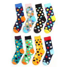 Wholesale happy socks for sale - Group buy 8 Color Colorful Happy Socks British Polka Dot Style Men Women Unisex Skateboard Socks Cotton Colorful Men s Fashion Business Meias Sock