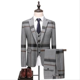 Wholesale plus size groom tuxedos resale online - Grey Mens Vintage Plaid Suits British Style Slim Notch Lapel Groom Party Tuxedo Wedding Tuxedos Formal Prom Suit Jacket Pants Vest