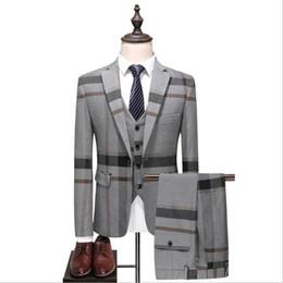 Back slimming vest online shopping - Grey Mens Vintage Plaid Suits British Style Slim Notch Lapel Groom Party Tuxedo Wedding Tuxedos Formal Prom Suit Jacket Pants Vest