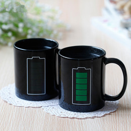 magic mug color Australia - Promotion Battery Magic Mug Positive Energy Color Changing Cup Ceramic Discoloration Coffee Tea Milk Mugs Novelty Gifts