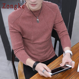 korean clothes sweater knits Australia - Zongke Red Casual Sweater Men Solid Striped O-Neck Pullover Sweater Men Knitted Sweaters For 2018 Man Winter Korean Clothing