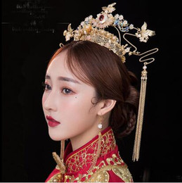 $enCountryForm.capitalKeyWord Australia - Bride and Bride Antique Headdress Chinese Wedding Xiuhe Dress Phoenix Crown Court Retro tassels Suit