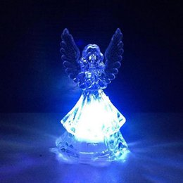 Acrylic Christmas Bulbs Australia - LED Angel Colorful Night Light Acrylic Flashing For Home Party Decoration Lamps Wedding