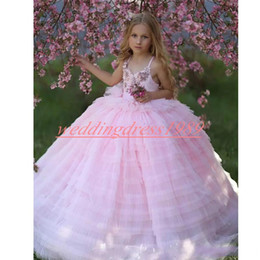 girls first birthday tutu Australia - 2020 Tiered Flower Girls' Dresses Rose A-Line Princess Pink Girl Birthday Formal Gowns First Communion Dresses Kids Tutu Pageant For Wedding