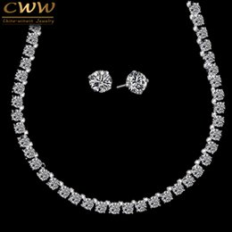 Carat Round NZ - Cwwzircons Stunning Big Carat Round Cz Crystal Necklace And Earrings Luxury Bridal Party Jewelry Set For Wedding Evening T061 Y19051302