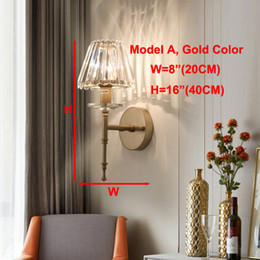 gold wall lamps bedroom UK - Contemporary luxury crystal wall lamp wall lighting fixtures gold wall mount lamps led sconce light for foyer bedroom bedside hallway