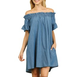 6e60a0101ad Women Dress Plus Size 5 XL sexy Off The Shoulder slash neck Denim mini  Dresses super quality Robe Vestido