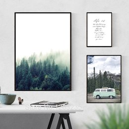 living art paintings NZ - Nordic Style Poster Posters And Prints Forest Landscape Live Wall Pictures For Living Room Wall Art Canvas Painting Unframed