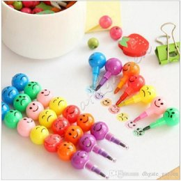 paintings old ships NZ - Wholesale Free shipping Stationery Colorful Watercolor Brush Smiley Cartoon Smile Pens Pencil Marker Children Gourd Toys Gifts 7 Colors Pen