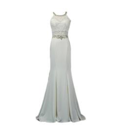 $enCountryForm.capitalKeyWord UK - Beaded Jewel Neck Satin Mermaid Evening Dresses 2019 Long Prom Gown with Appliques Formal Dress Elegant