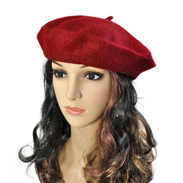 e1284aeb2576c New Fashion Solid Color Warm Wool Winter Women Girl Beret French Artist  Beanie Hat Cap For Female Chistmas gift