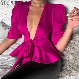 sleeve lace peplum top 2020 - Ruffle Puff Sleeve Blouse Shirt Puffy Bow Lace-up V Neck Elegant Sexy Peplum Top Woman 2020 Summer Fashion Blouses Women