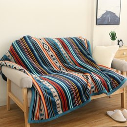 Beds Quilts Australia - 50*60Inch Warm Thick Lambskin Throw Blanket Fleece Fuzzy Sherpa Blankets for Beds Plaid Sofa Couch Cover Bedspread Small Quilt