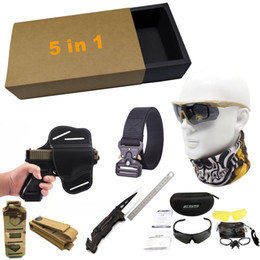 $enCountryForm.capitalKeyWord Australia - 5in1 tactical accessories Universal pistol holster Tactics belt Pistol Bullet Clamp Folding tactical knife 3 lens antifogging glasses suit.