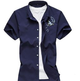 Wholesale white male free shirts online – design Mens Summer Designer Short Sleeve Cardigan Turndown Collar Mens Shirts Silm Embroidery Fashion Casual Male Clothing