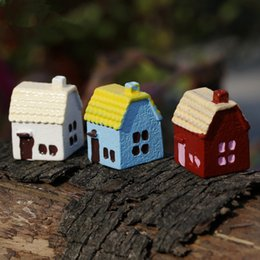 small house decoration Australia - 20pcs lot 5 Colors Small Chinese Style House DIY Resin Fairy Garden Carft Decoration Miniature Micro Gnme Terrarium Ornaments