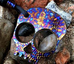 $enCountryForm.capitalKeyWord Australia - limite EDC skull Camping tool Self-defense equipment TC4 Titanium alloy boxing clutch knuckle self defense tool pendant thick 8mm