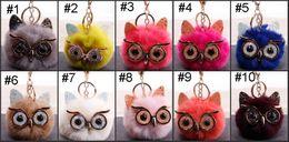 Big Ladies Handbags Australia - Free DHL Cute Fashion Lady Owl Fur Ball Keychain Ball Big Eyes Owl Car Keychain Handbag Key Ring Christmas Present Keyfob 25 Style