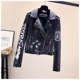 womens leather motorcycle jackets fashion NZ - Fashion Womens Punk Wind Lapel Jacket Women's Pu Leather Printing Motorcycle Jacket Coats Designer Women Rivet Short Coat Asian Size