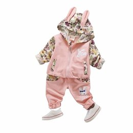 long suits for girls UK - 2019 New Spring Autumn Cute Baby Cotton Clothes SetsChildren High Qulity Long Sleeve Print Toddler Girls Suit For Kid 0-4 Years