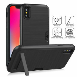 armor x Australia - For Iphone X XR XS Max Hybrid Business Card Holder Armor TPC Hard PC Back Cover For iphone 8 7 6 6S Plus Luxury Rugged Stand Wallet Case