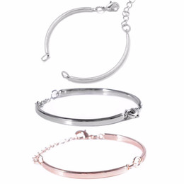 $enCountryForm.capitalKeyWord Australia - 1pc Ajustable Curved Metal Connector Blank Bangles Tail Chain Link DIY Jewelry Findings Charms Bracelet for Women Men Love