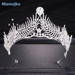 crown for head 2019 - Mamojko New Silver Crystal Bride Tiara for Women Rhinestone Crown Bridal Tiaras Head Jewelry Diadem Wedding Headdress ch