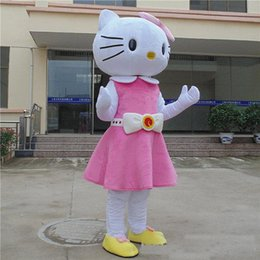 42d707224d8 2019 Discount factory sale hello kitty Mascot Costume Hello Kitty cat pink  dress Cartoon Character for adult animal Halloween Purim party