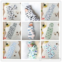 Wholesale 11 Colors Infant Cartoon Cotton Shark Whale Swaddle Blanket Piece Set Sleeping Bags Cap Newborn Baby Sleepingbag