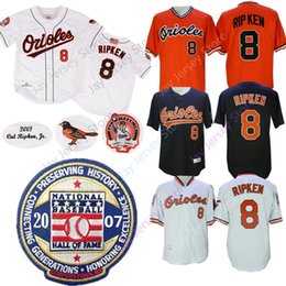 dbe924ed7 Cal Ripken Jersey Orioles with 2007 Baseball Hall Of Fame Patch Home Away  2001 Baltimore Jerseys