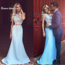 Plus size celebrity wedding dresses online shopping - Sexy Two Pieces Evening Dresses Wear Mermaid Illusion Sleeveless Cheap Lace Long Formal Party Celebrity Prom Gowns