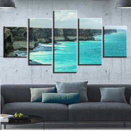 Art Canvas Prints Australia - Modular Canvas HD Prints Poster 5 Pieces Steep Cliff Coast Pictures Blue Waves Seascape Paintings Wall Art Framework Home Decor