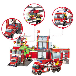 Chinese  FREE SHIPPING 774pcs New City Fire Station Building Blocks Fire Fighting Car Playmobil DIY Educational Bricks Toys Compatible manufacturers