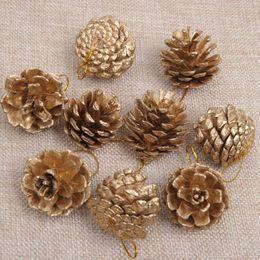 $enCountryForm.capitalKeyWord Australia - 9PCS Gold Christmas Ornaments Pine Cones DIY Xmas Tree Ornaments Pendant Christmas Party Decorations Home Decor