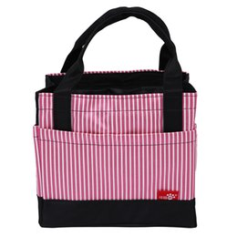 Wholesale Striped Draw String Lunch Bag Portable Cute Square Shaped Picnic Basket Oxford Lunch Box Vanilla milkshake Top Sale