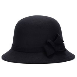 Ladies Rain Hat UK - Autumn Winter Vintage Woolen Fedora Hats Women Elegant  Office Lady Stylish bbb53e259c2