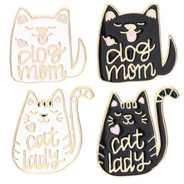 Brooch for glasses online shopping - Dog Mom Cat Lady Cartoon Animal Dog and Cat Pins Enamel pins Badges Brooches for dog cat kitty lover Cute Animal jewelry