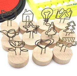 Table clips online shopping - Wood Stand with Clip Wedding Wooden Photo Clip Card Holder Table Stand Number Memo Stand LJJK1882
