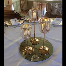 Wholesale Christmas Gold Crystal Votive Candle Holders Centerpieces with Warm White String Light for Wedding Table House Decor Gifts