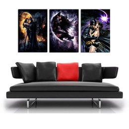$enCountryForm.capitalKeyWord Australia - Batman Wonder Woman Kiss ,3 Pieces Home Decor HD Printed Modern Art Painting on Canvas  Unframed Framed